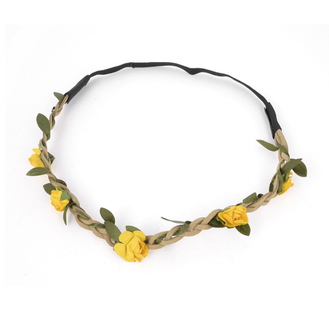 Women Hairstyle Yelleow Flower Elastic Braided Strap Hairwear Headband Hair Band