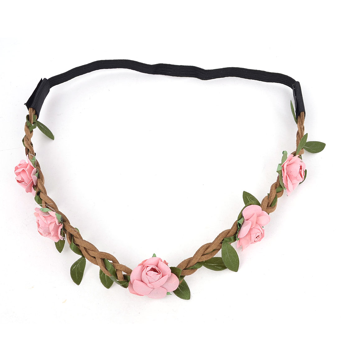 Ladies Hairdressing Pink Flowers Design Braided Strap Elastic Headwear Hair Band