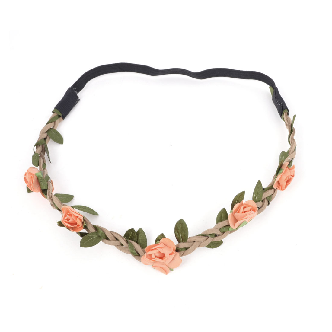 Boho Style Orange Flowers Inlaid Elastic Hair Accessory Head Band for Ladies