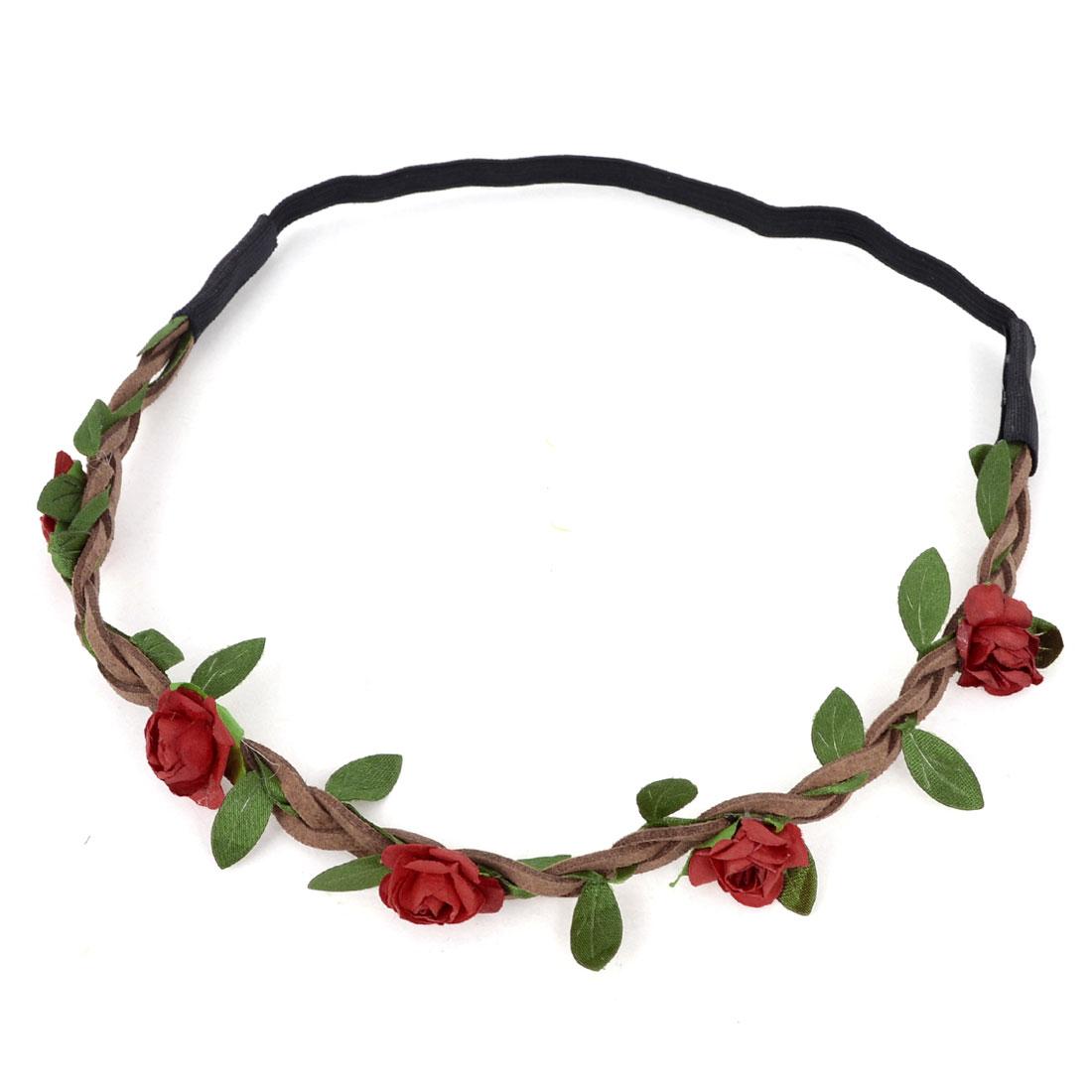Women Hairdressing Elastic Braided Strap Floral Design Headwear Hairband