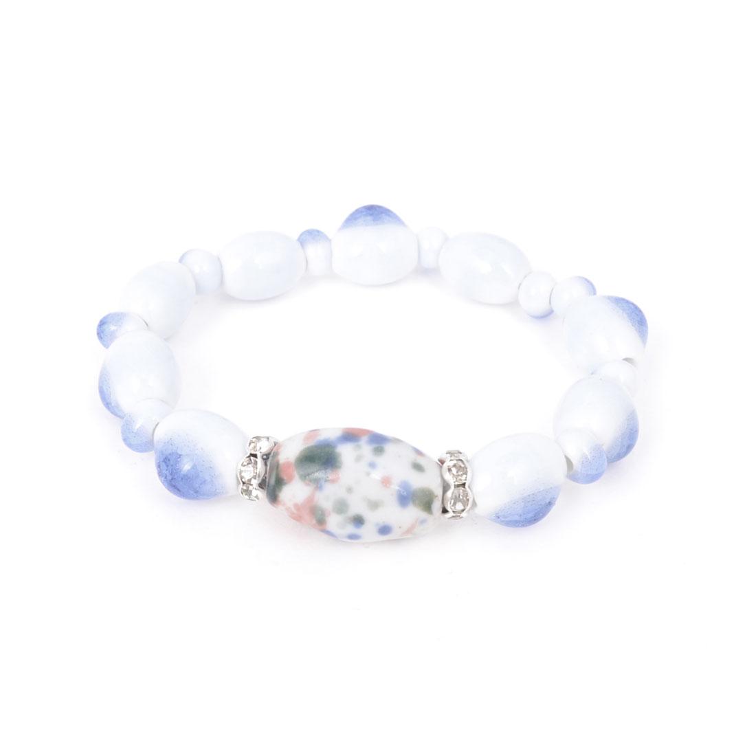 Women Wrist Decor Ceramic Vase Bead Linked Blue White Broken Beads Bracelet