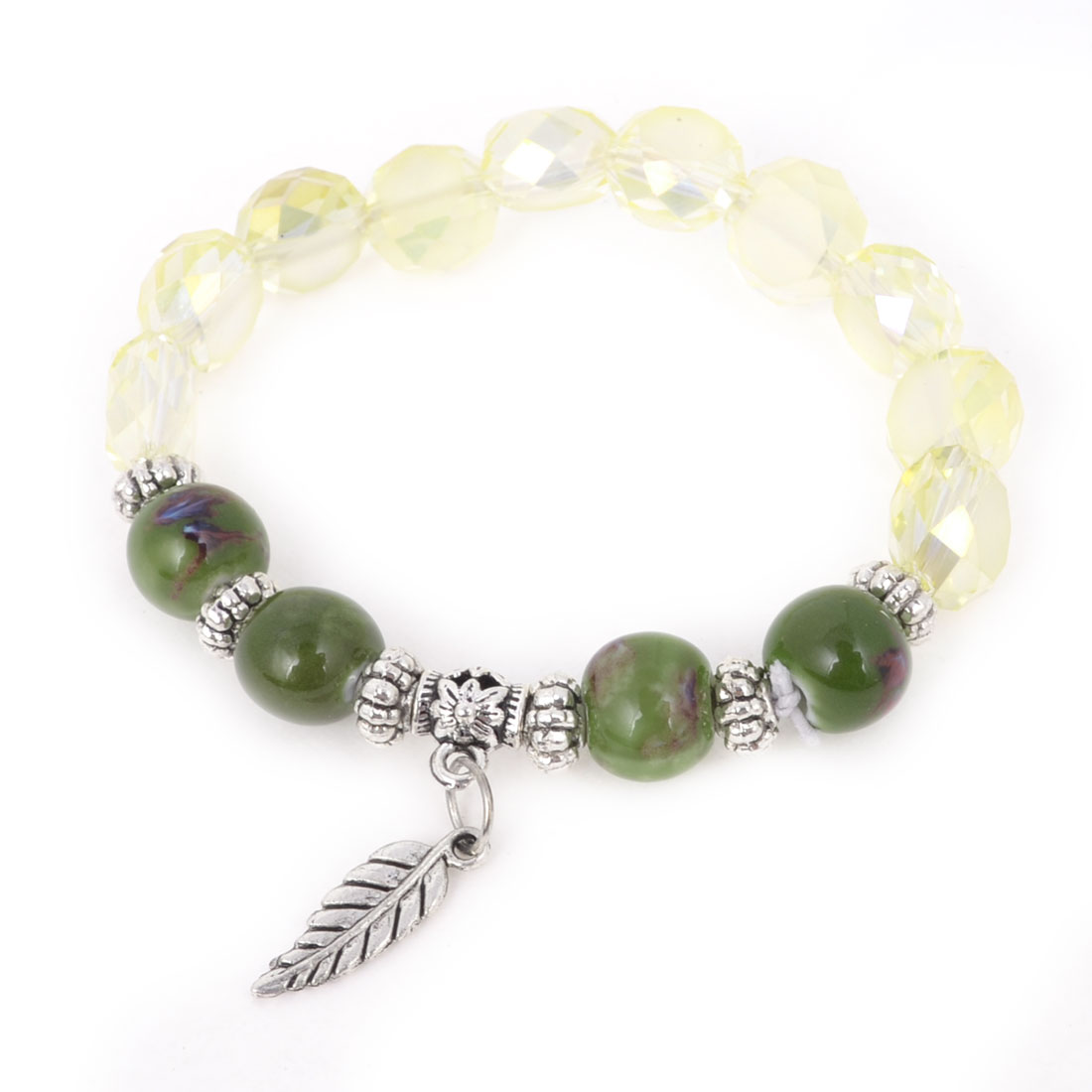 Ladies Wrist Decor Silver Tone Leaf Accent Elastic Faux Crystal Bangle Bracelet