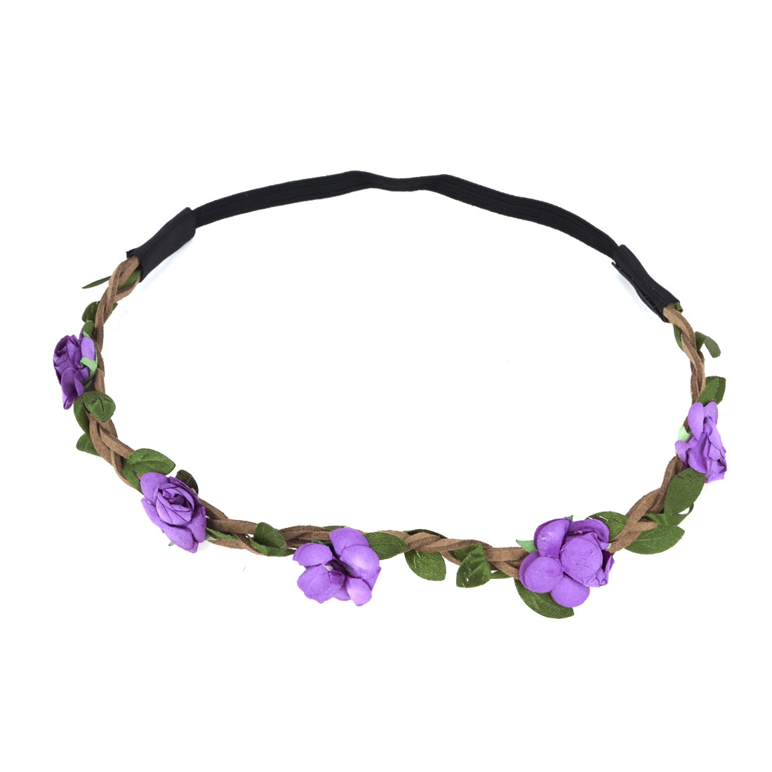 Ladies Hairdressing Purple Flowers Accent Elastic Braided Hair Band Headband