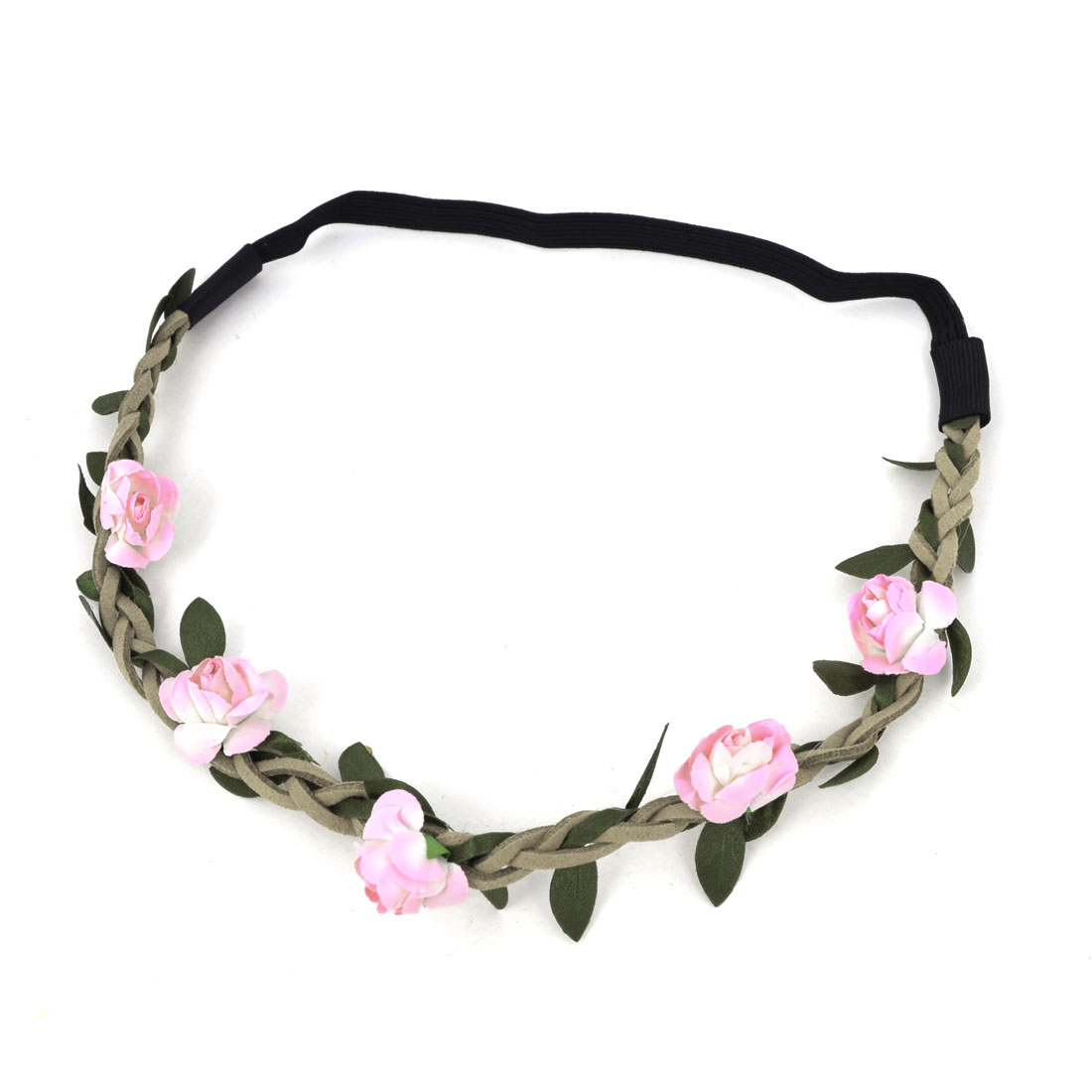 Ladies Pink White Flower Inlaid Braided Strap Stretchy Headband Hair Band