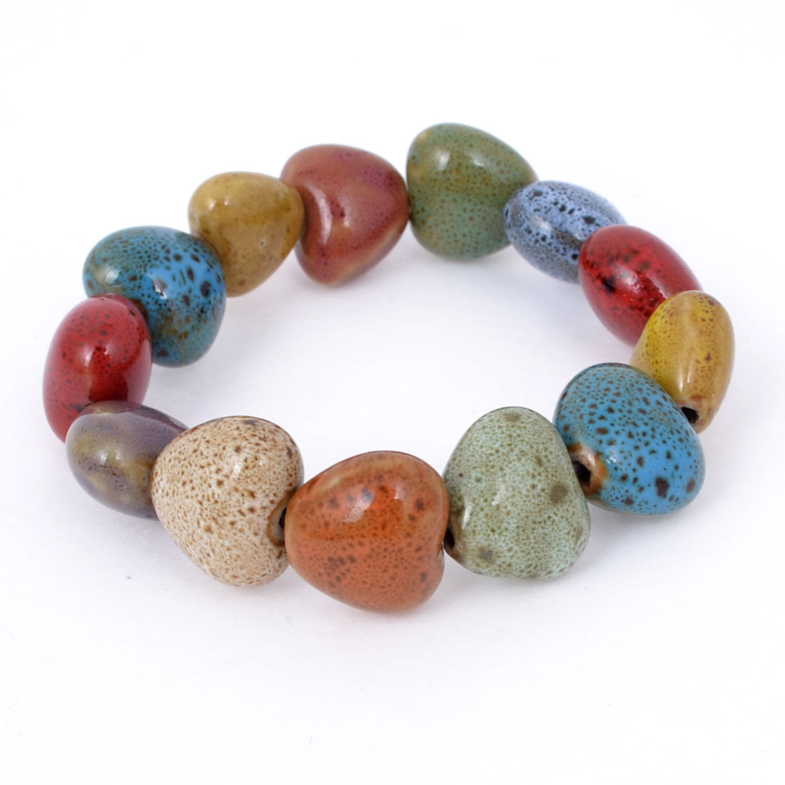 Heart Shape Ceramic Beads Stretchy Bracelet Wrist Ornament Corlorful for Ladies