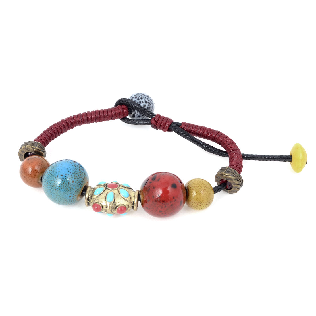 Lady Vintage Style Multiple Pastel Color Ceramic Beads Handmade Braided Bracelet
