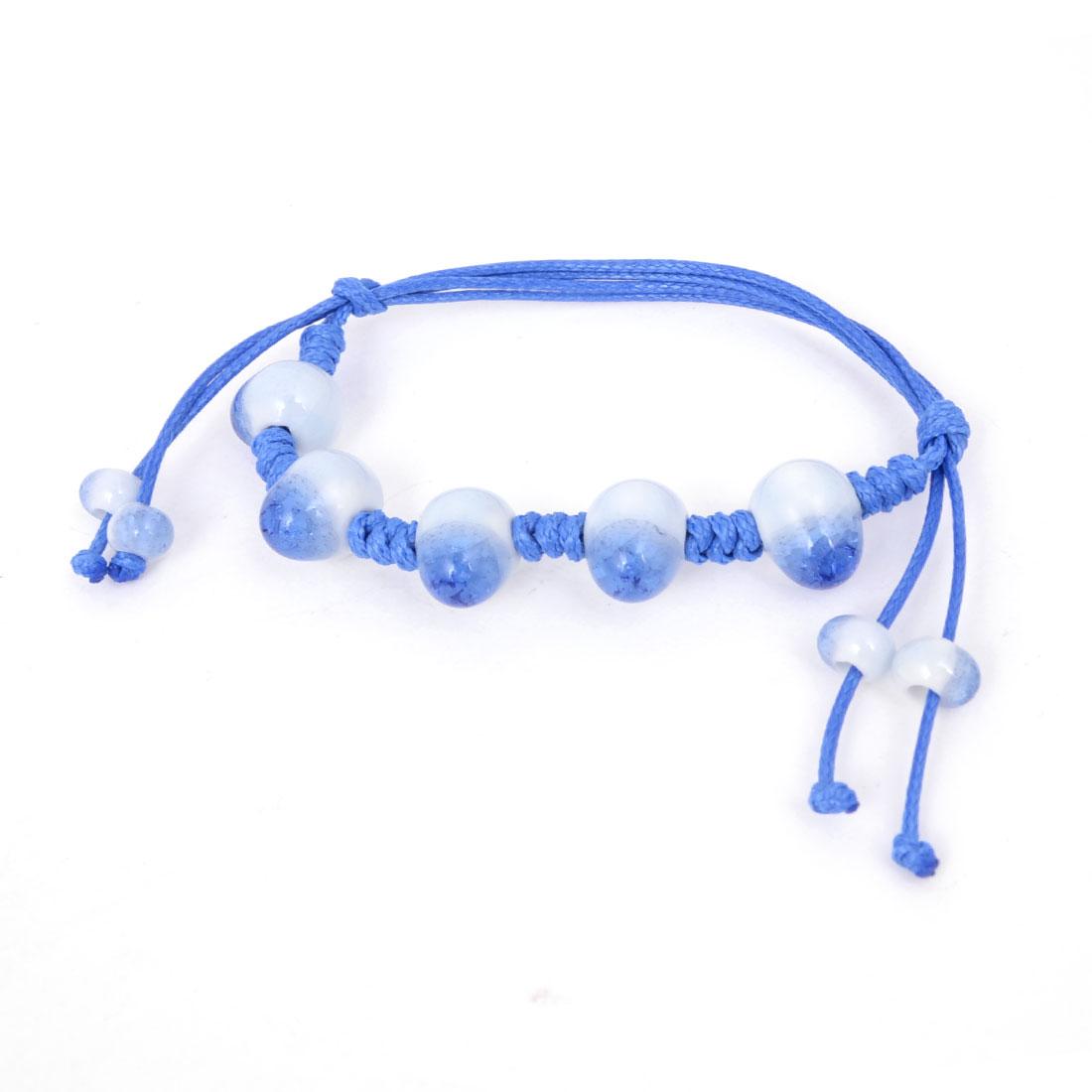 Hand Knitting Fibre Braid Wristband Beaded Ceramic Bracelet Blue White for Women