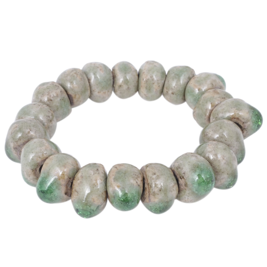 Unisex Wrist Ornament Elastic Broken Ceramic Beads Bangle Bracelet Khaki Green