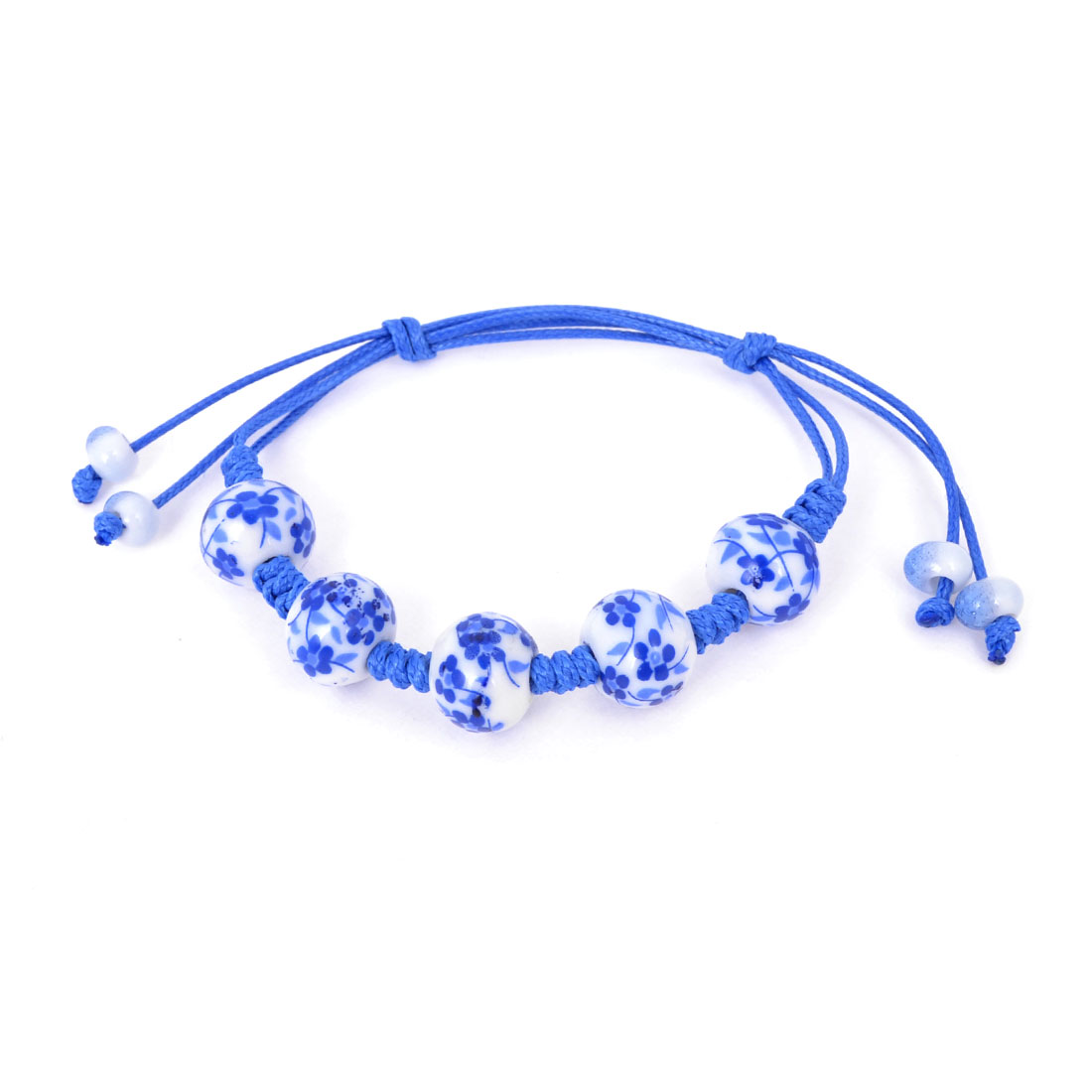 Lady Chinese Style Adjustable Rope Cord Blue-white Porcelain Hand Chain Bracelet