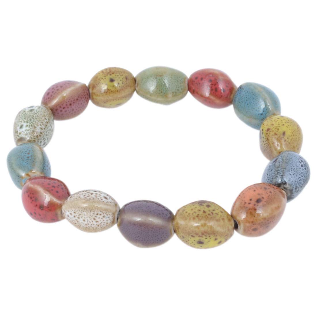 Ladies Wrist Ornament Candy Color Stretch Beaded Ceramic Bracelet Bangle