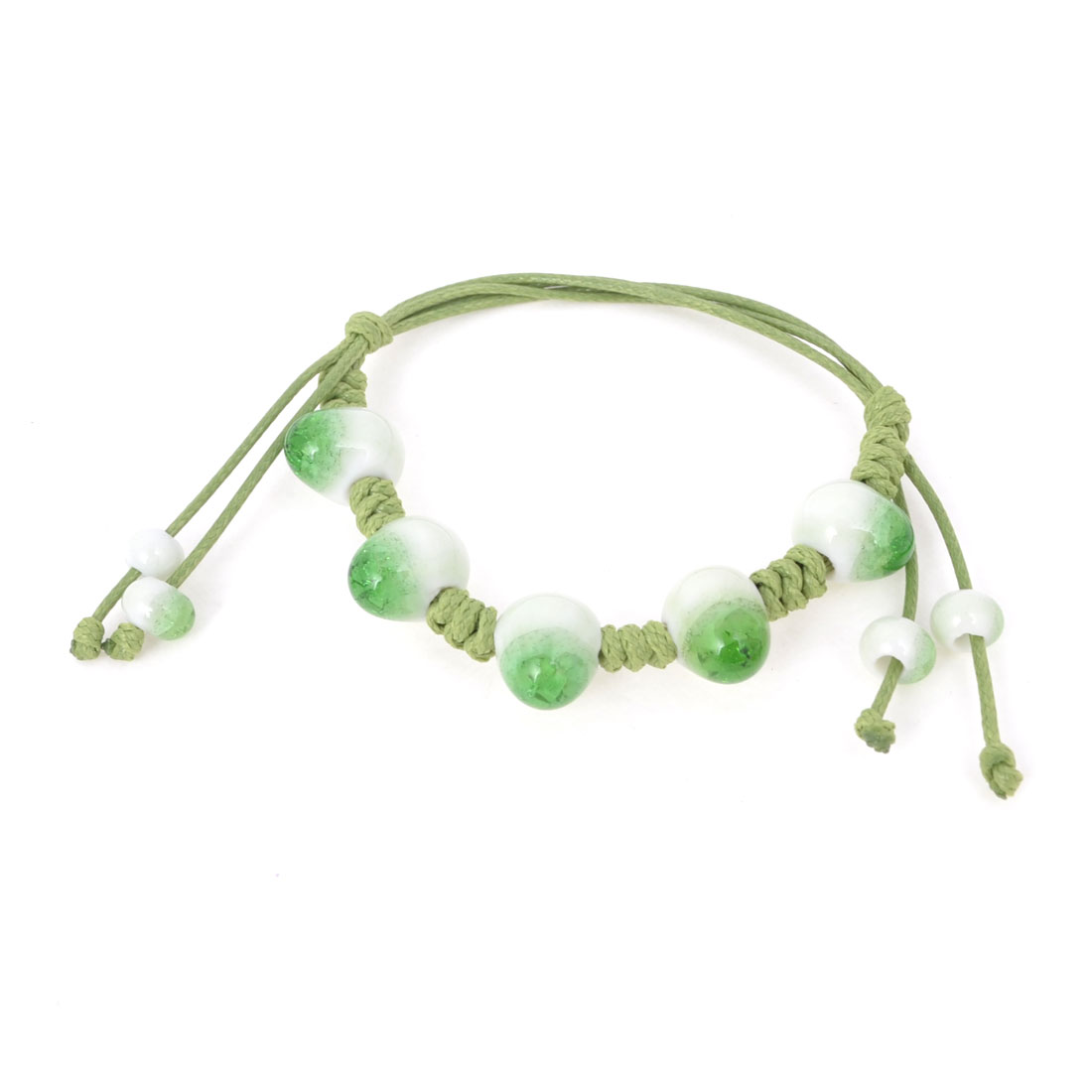 Ladies Wrist Decor Stretchy Broken Bead Hand Chain Ceramic Bracelet Green White