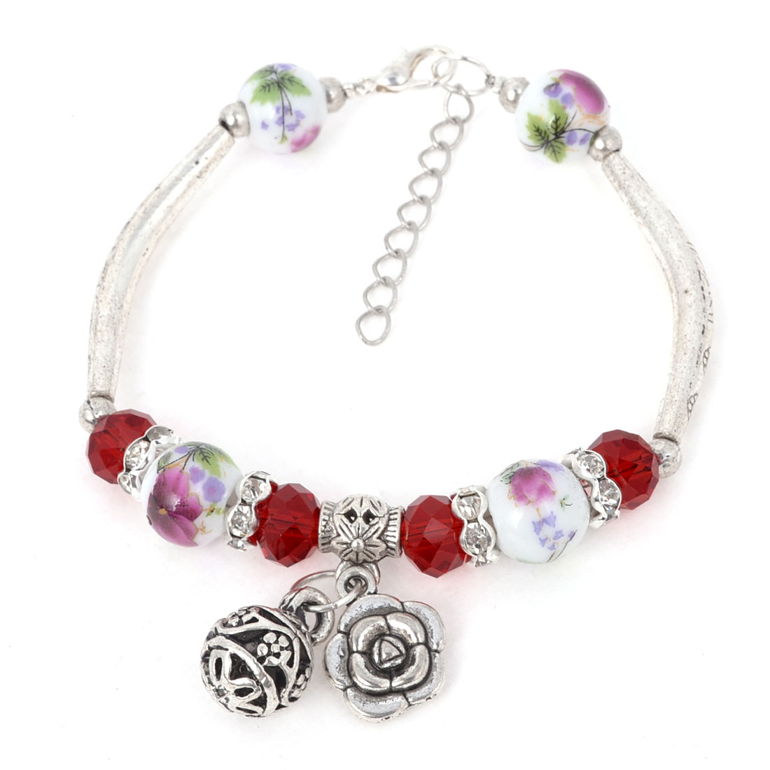 Women Wrist Ornament Red Crystal Linked Round Ceramic Beads Bracelet Silver Tone