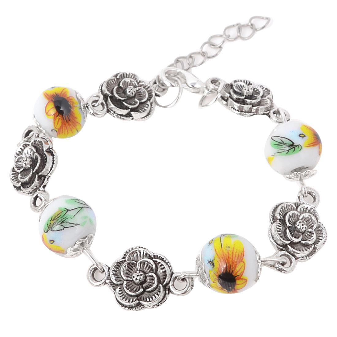 Women Orange Flower Linked Beads Wrist Ornament Ceramic Bracelet Silver Tone