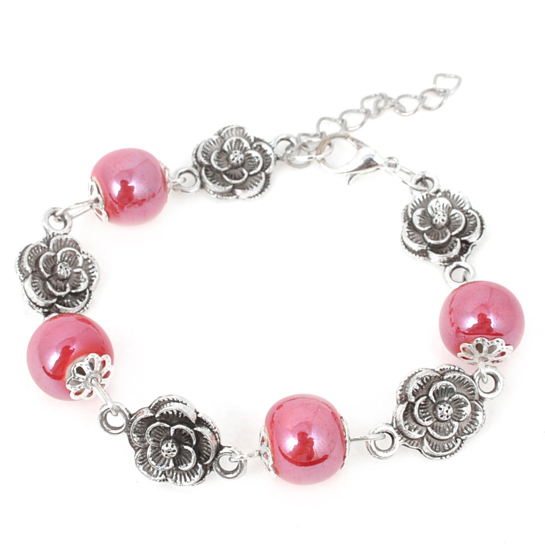 Lady Miao Silver Ornament Folk Style Flower Print Charm Jewelry Ceramic Bracelet