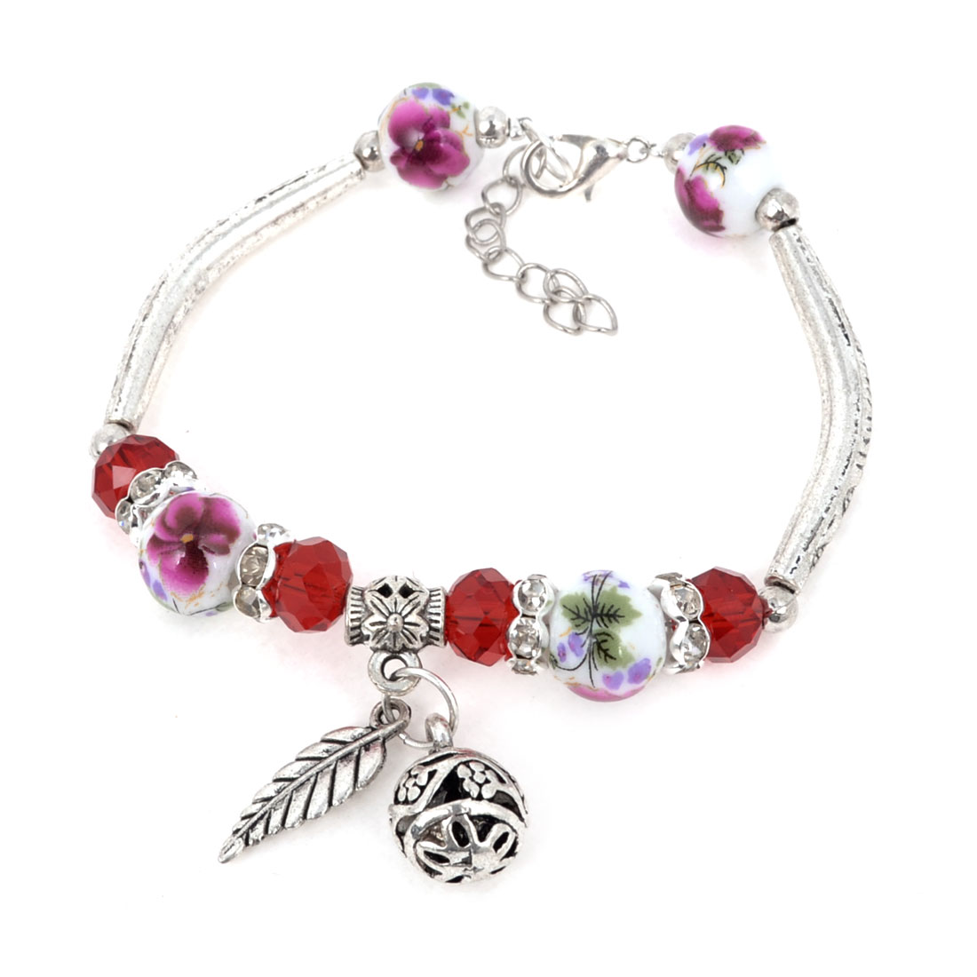 Retro Style Miao Sliver Wrist Decor Beads Linked Faux Crystal Bracelet for Lady
