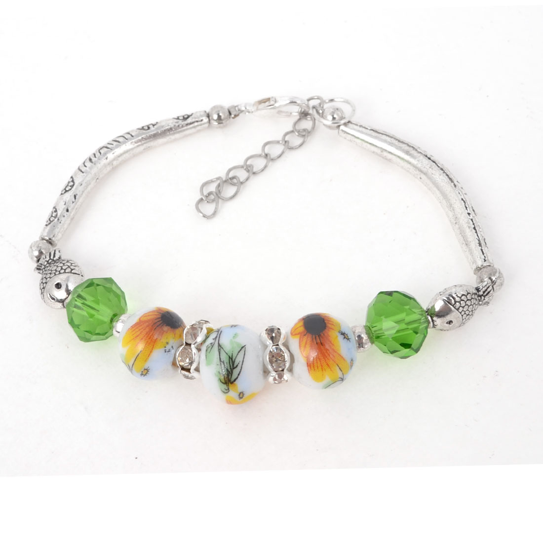 Ladies Vintage Style Green Crystal Linked Manmade Beads Silver Tone Bracelet