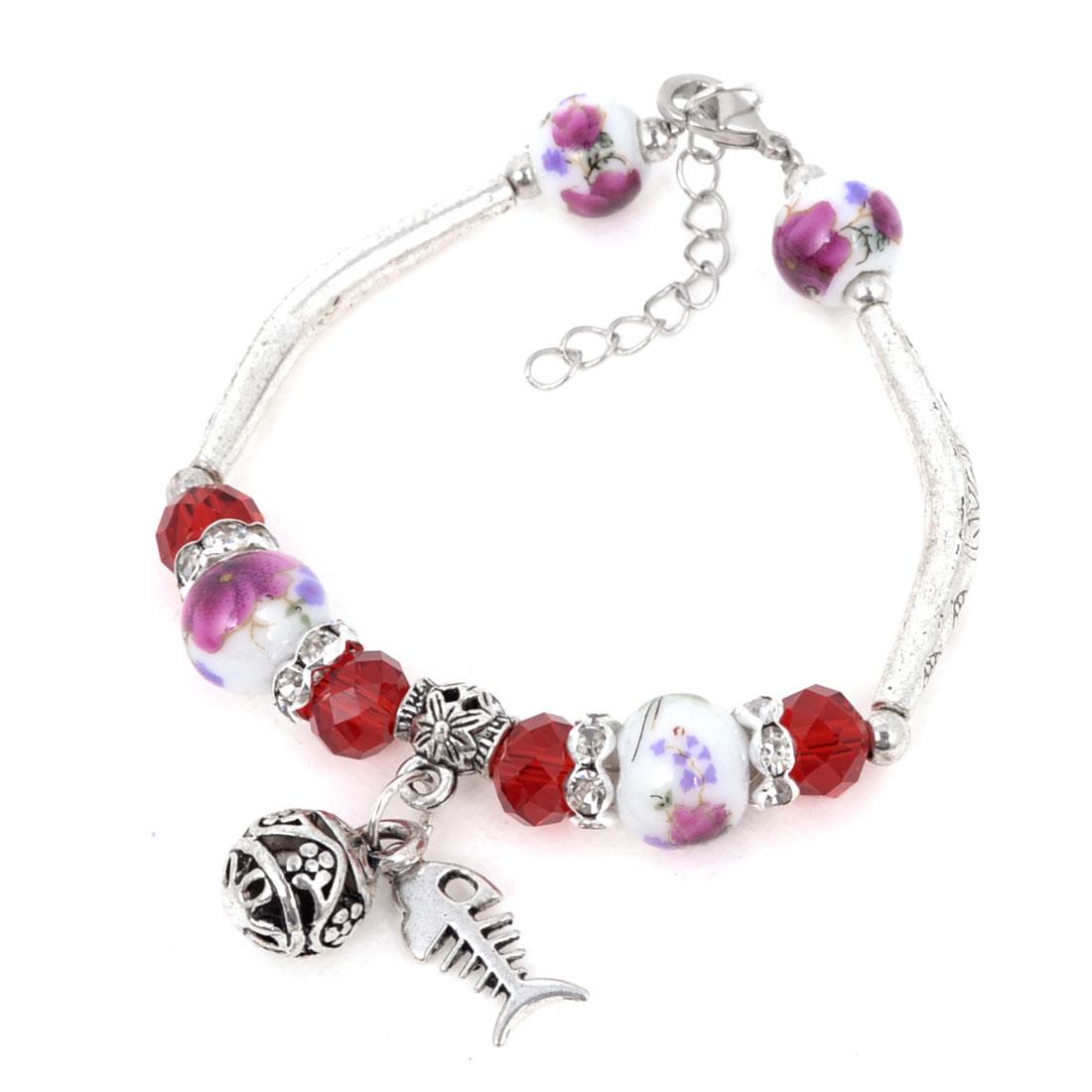 Lady Sliver Tone Fishbone Pandent Manmade Red Crystal Linked Round Bead Bracelet