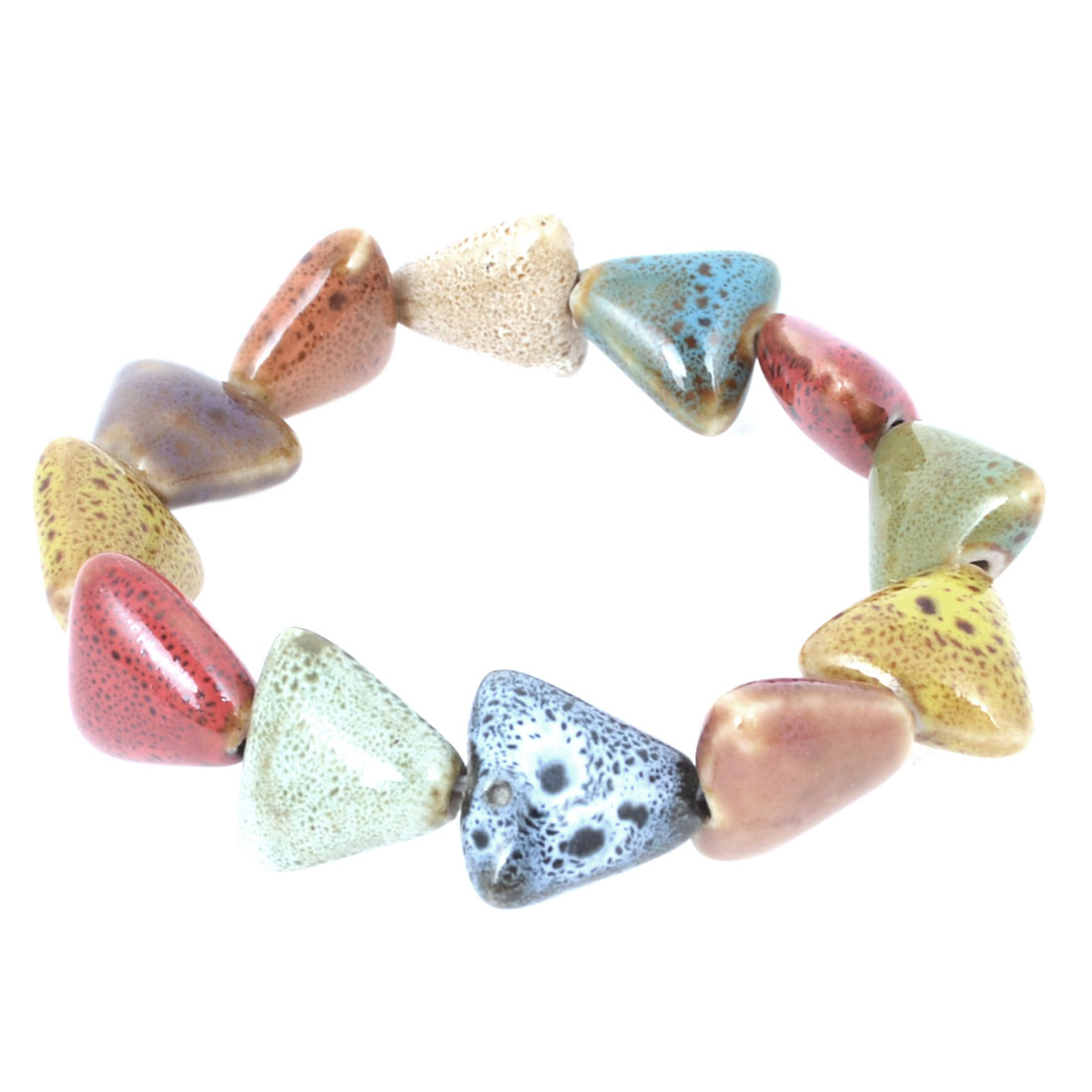 Women Triangle Shape Ceramic Beaded Elastic Bracelet Wrist Ornament Candy Color