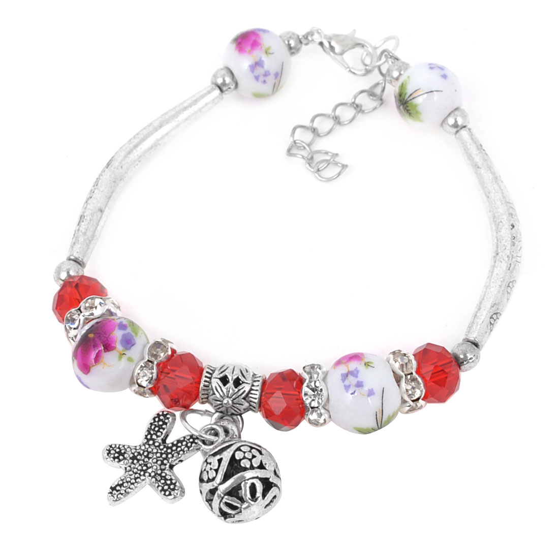 Lady Wrist Decor Faux Red Crystal Linked Round Bead Ceramic Bracelet Silver Tone