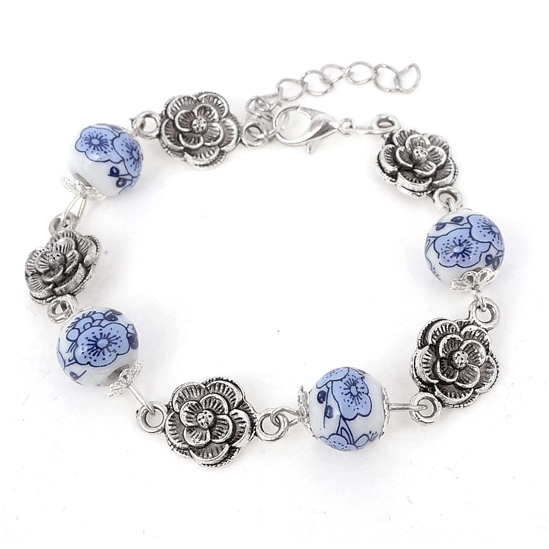 Lady Retro Style Metal Flower Accent Adjustable Chain Ceramic Beads Bracelet