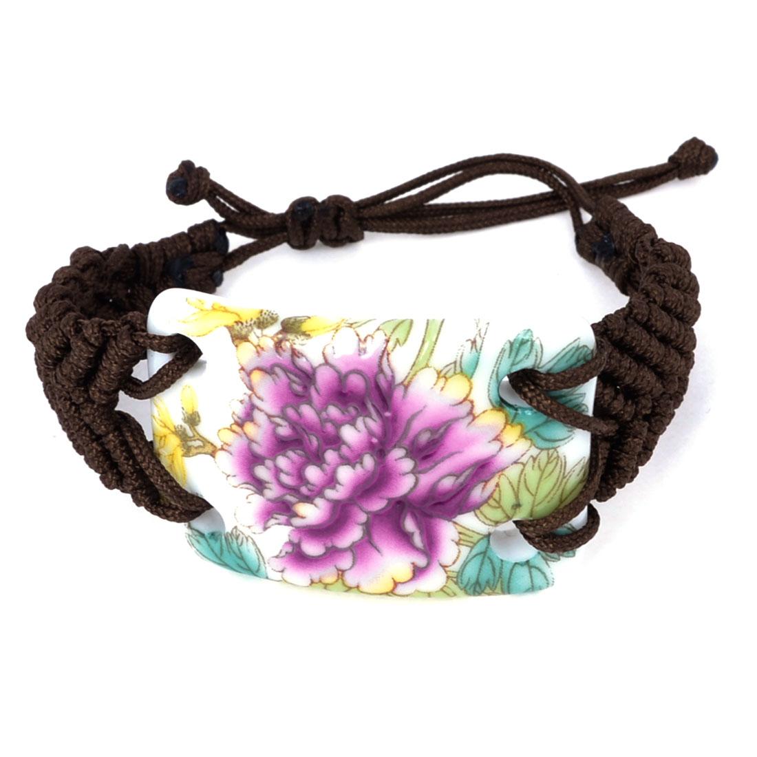 Lady Flower Printed Fibre Braid Wristband Wrist Ornament Ceramic Bracelet Brown