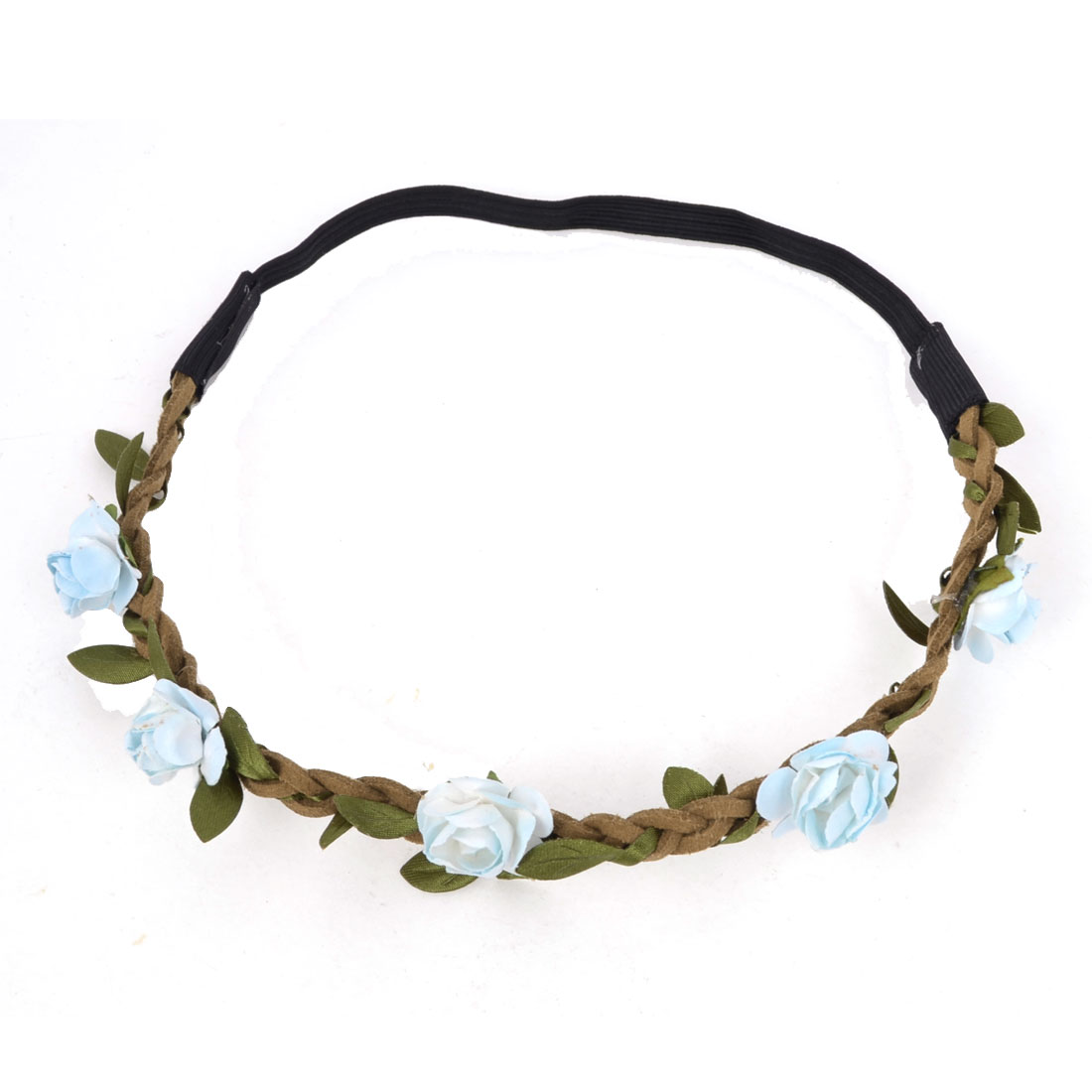 Women Hairstyle White Blue Flowers Inlaid Braided Strap Headwear Hair Band