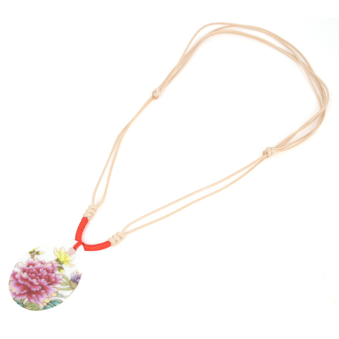 Lady Flower Pattern Oval Shape Pendant Adjustable Plaited Strap Ceramic Necklace