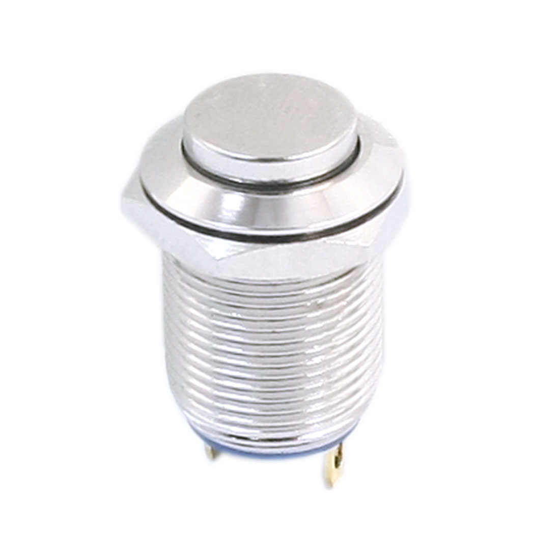 AC 250V 2A SPST 4Pins High Flat Head 12mm Thread Panel Mount Momentary Metal Push Button Switch