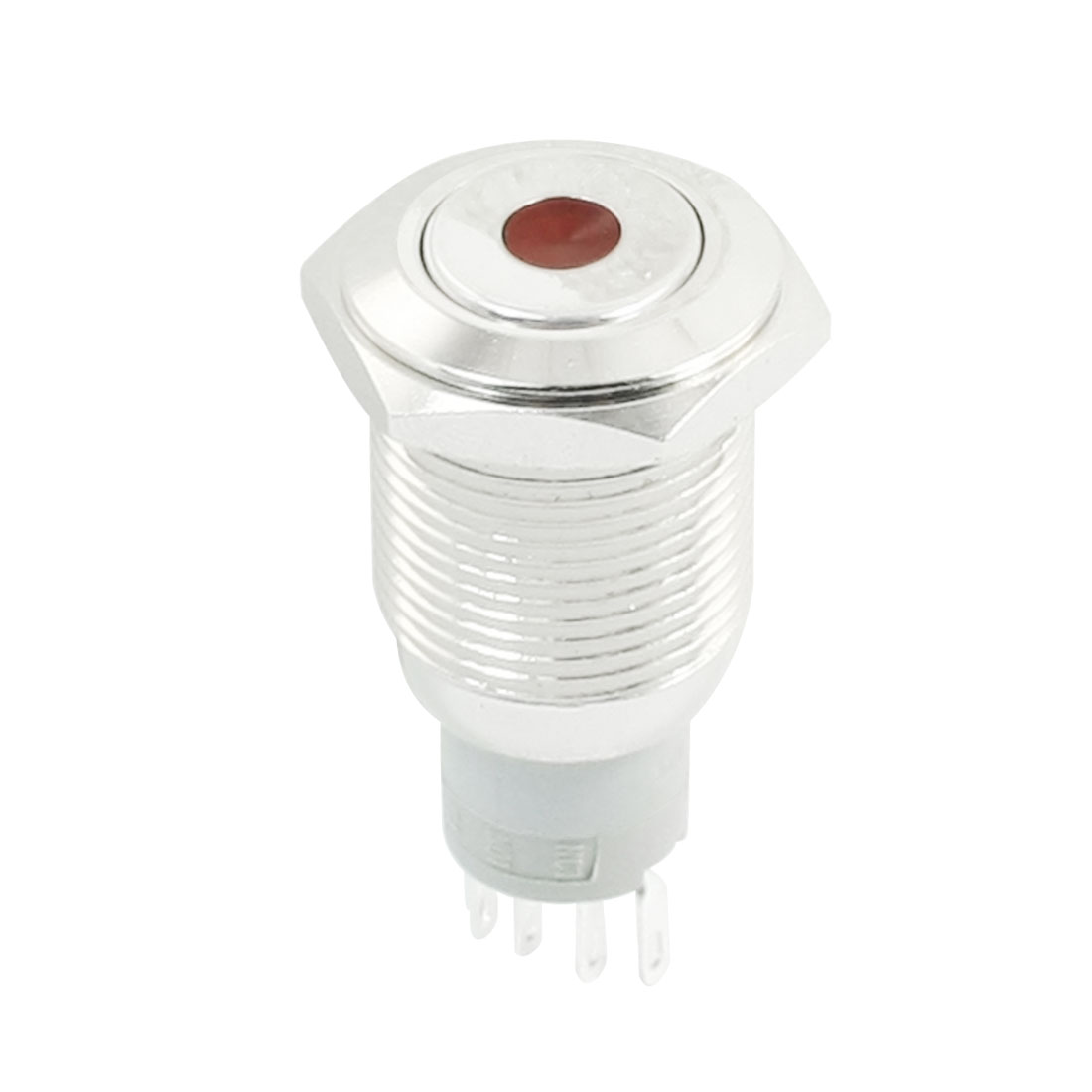DC12V Red Indicator Dot LED SPDT 1NO 1NC 5Pins 16mm Panel Mounting Momentary Metal Push Button Switch