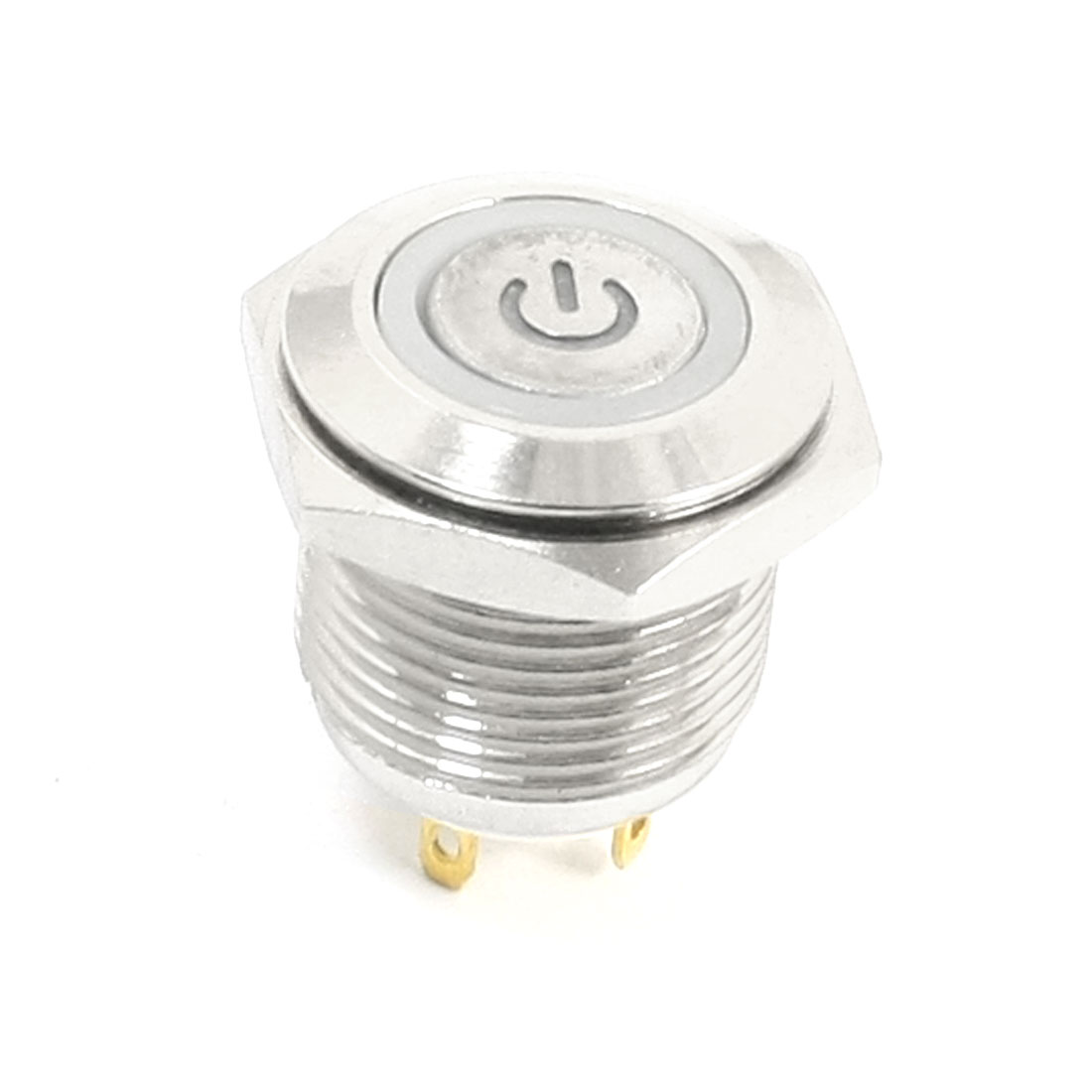 DC 12V Blue Power Indicator LED Angel Eye SPST 4 Pins Flat Head Momentary Metal Pushbutton Switch 16mm Thread