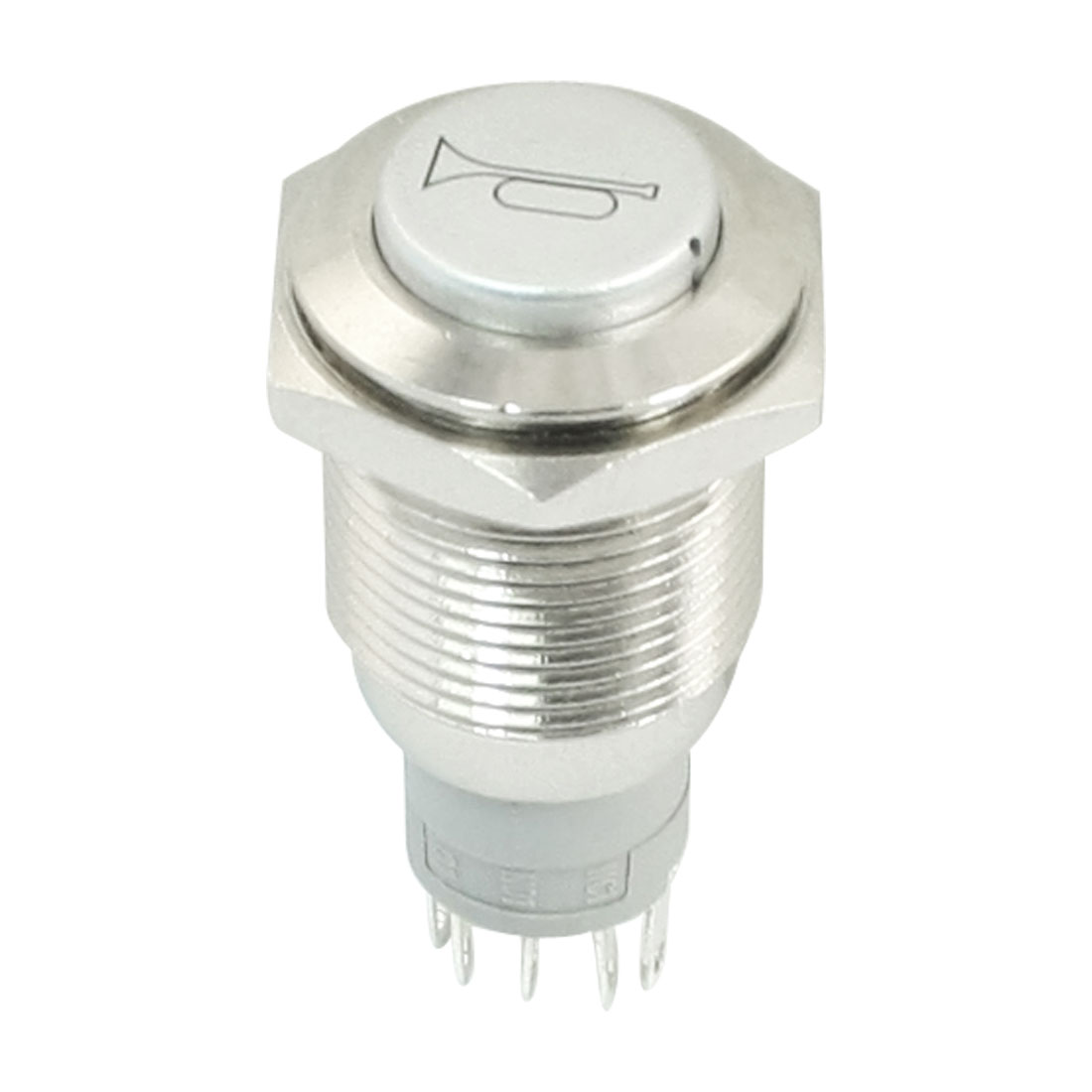 DC 12V Red Indicative LED High Flat Head SPDT 16mm Thread Momentary Metal Pushbutton Switch for Car Horn