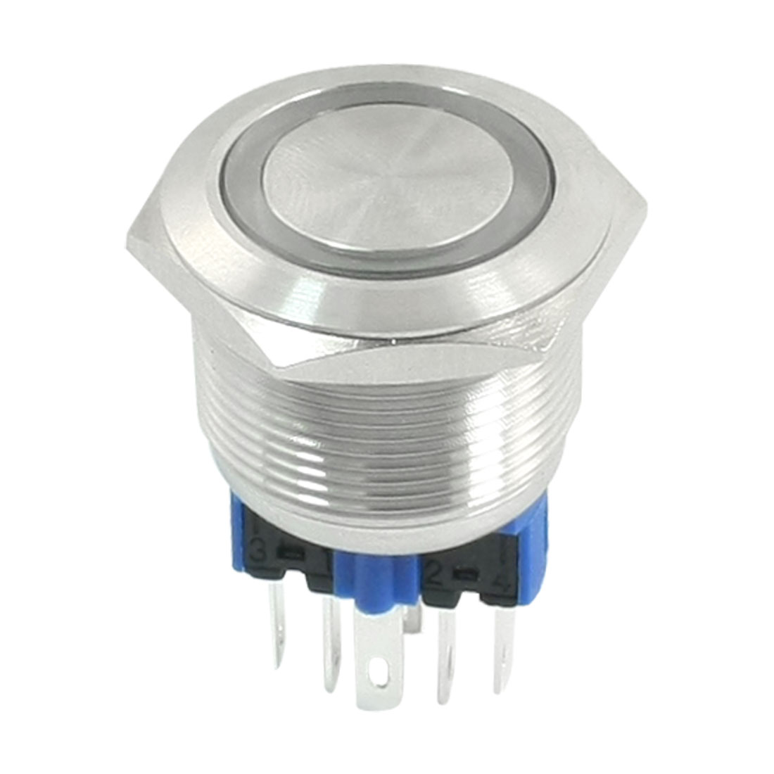 DC 12V Green Indicative LED Angel Eye DPST 1NO 1NC 6 Pins 22mm Momentary Stainless Steel Push Button Switch