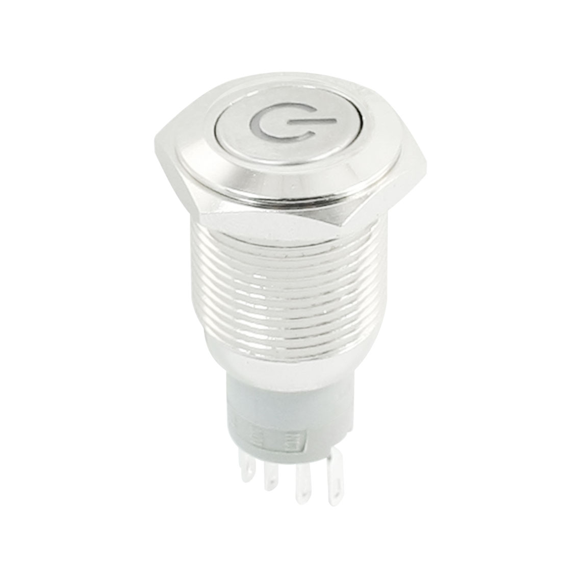 DC12V White Power Indicator LED Angel Eye SPDT 1NO 1NC 16mm Thread Latching Metal Push Button Switch