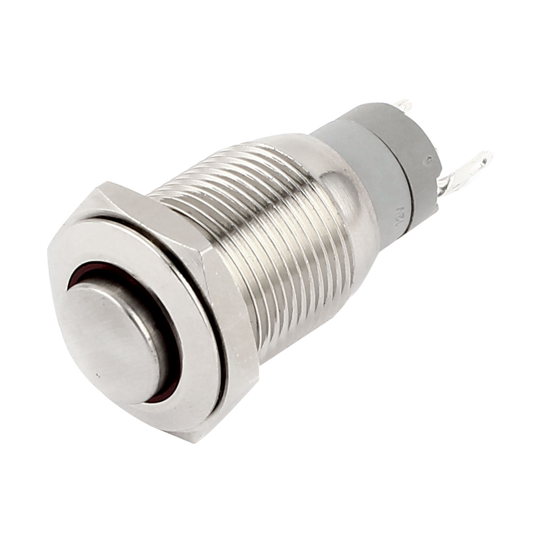 DC 12V Red Indicative LED Angel Eye High Flat Head SPDT 1NO 1NC 16mm Thread Self-Locking Metal Push Button Switch