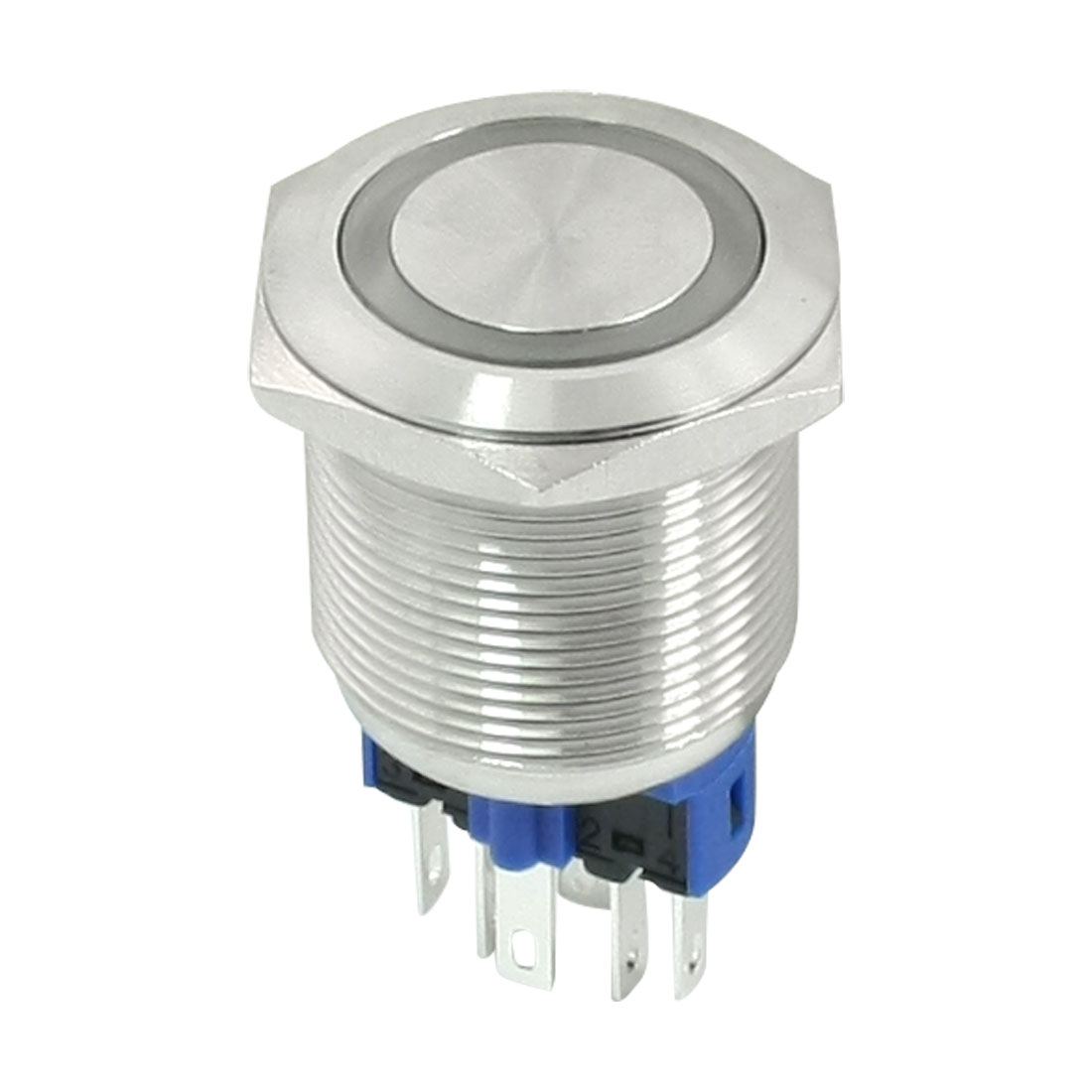 DC 12V Red Angel Eye LED Light DPST 1NO 1NC 6 Pins 22mm Latching Stainless Steel Push Button Switch
