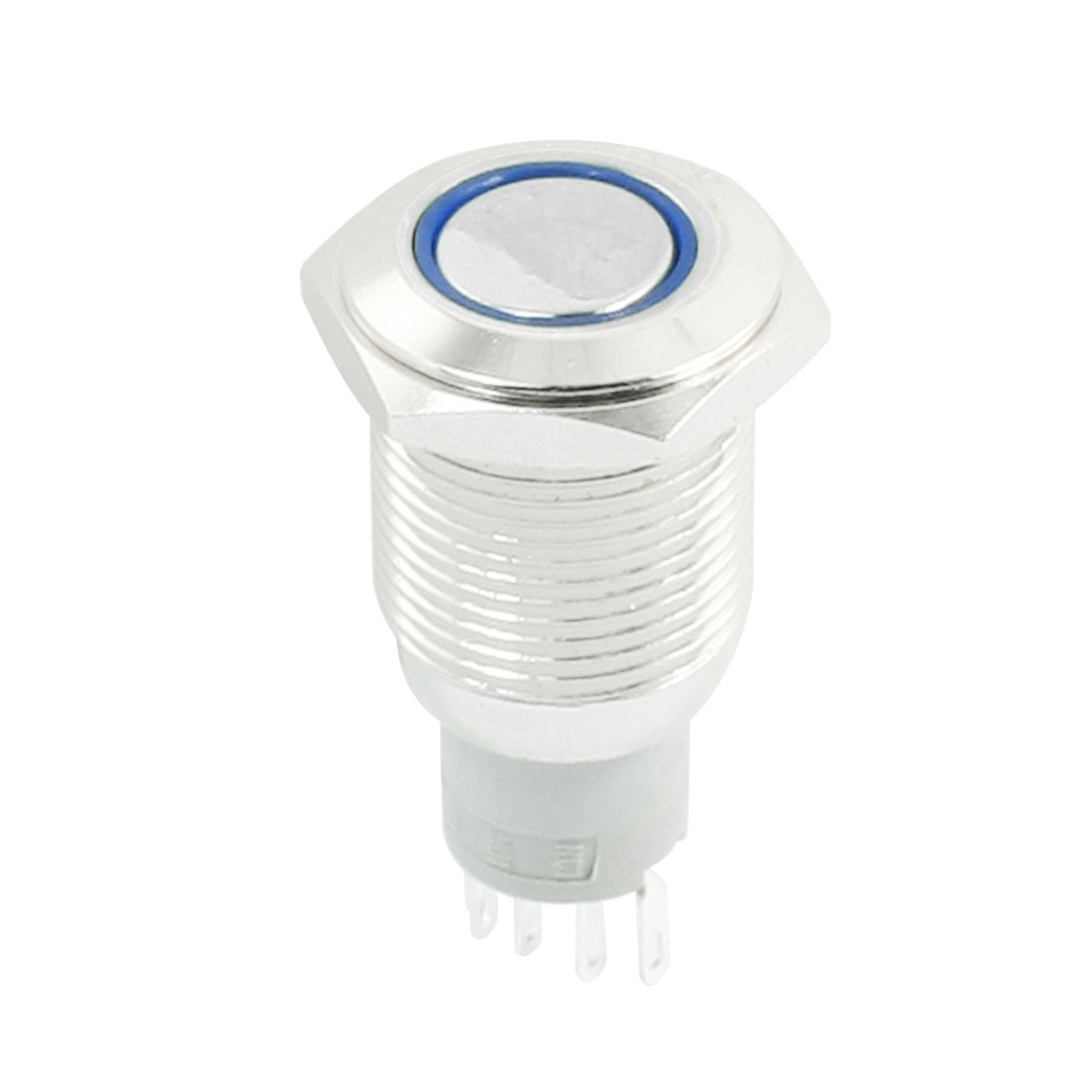DC 12V Blue Indicative LED Light Angel Eye SPDT 1NO 1NC 5 Terminals 16mm Thread Latching Metal Push Button Switch
