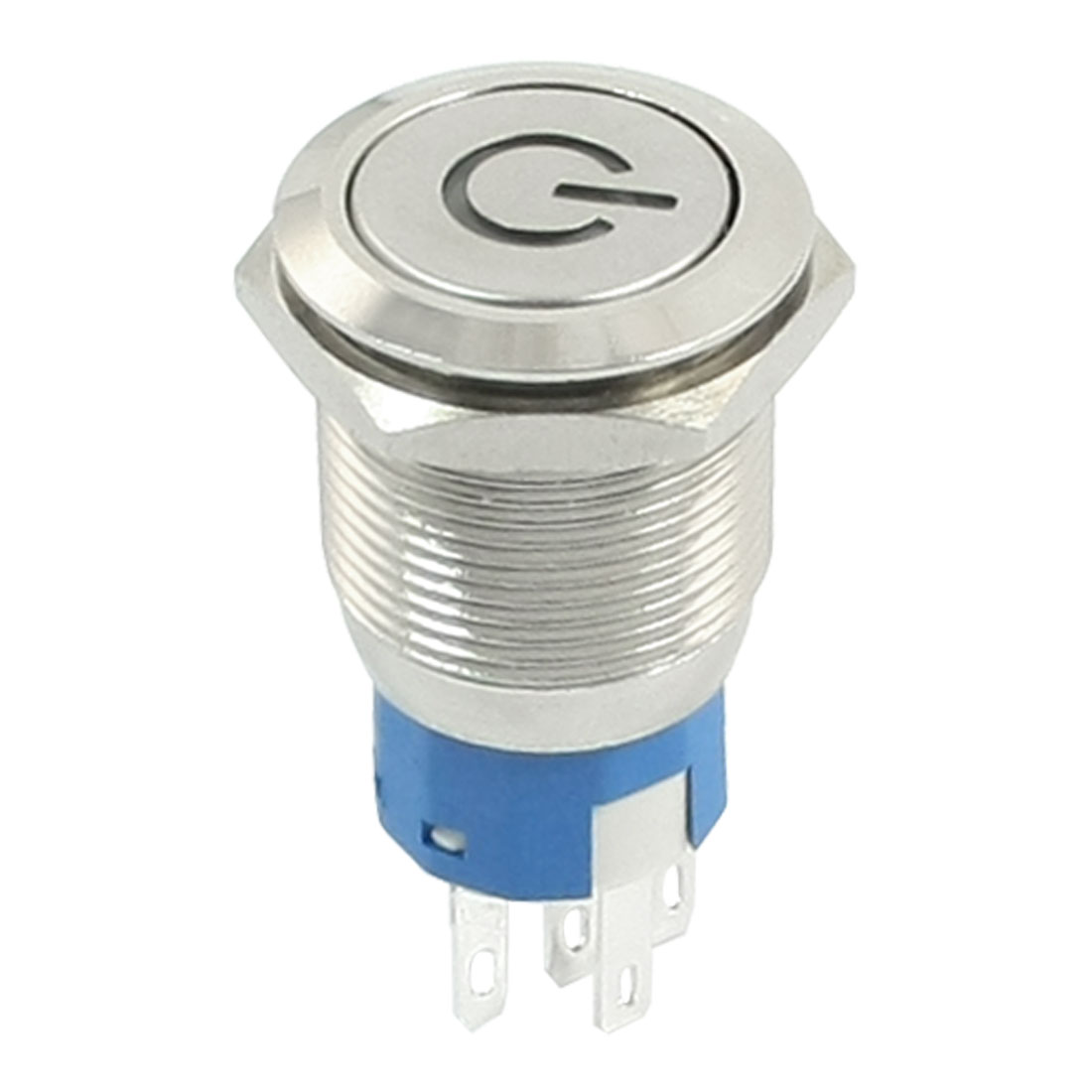 19mm ON/OFF Blue LED DC12V 3A Locking Power Push Button Stainless Steel Switch AC 250V 5A