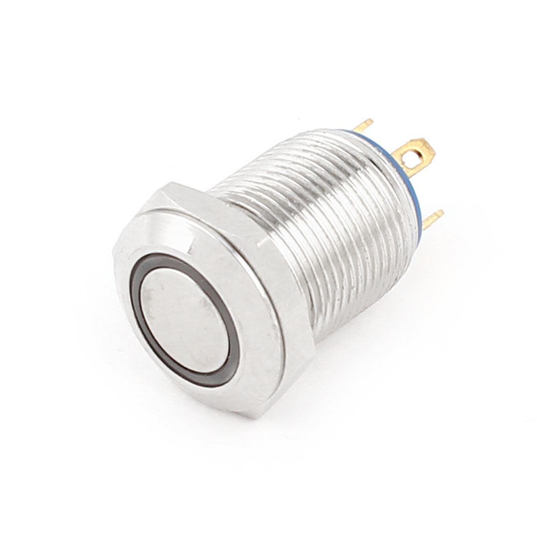 Silver Tone Case 12mm Angel Eye Yellow LED DC3V SPST Momentary 4 Pins Push Button Metal Switch AC250V 2A