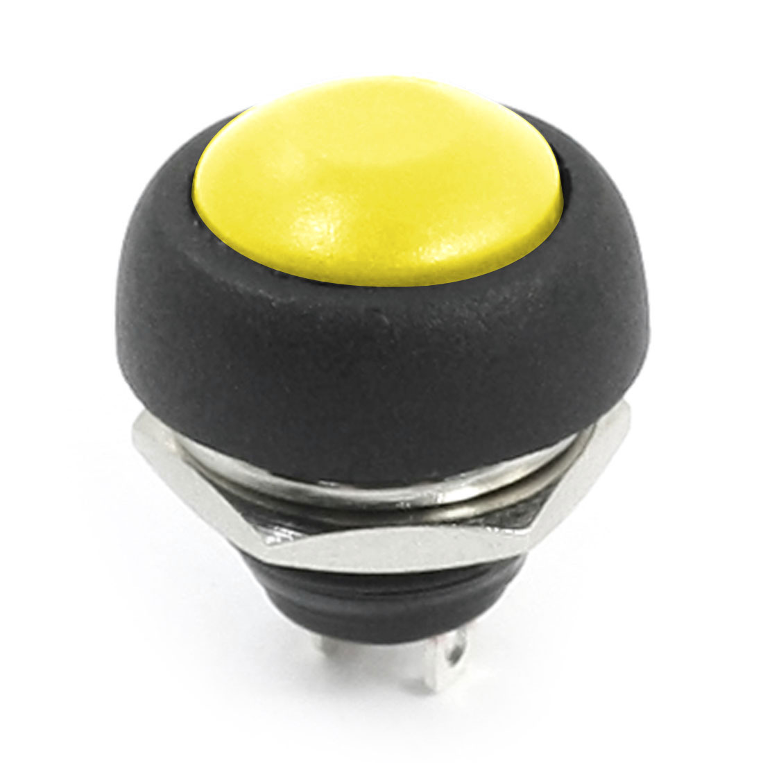 12mm Thread Panel Mounted 2Pins SPST Yellow Round Head Momentary Plastic Push Button Switch