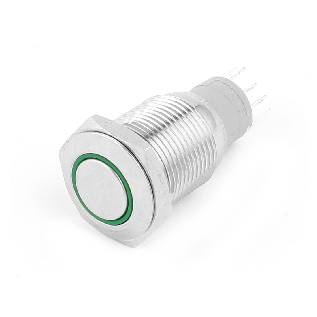DC 12V Green Angel Eye Power Symbol LED Light SPDT 1NO 1NC 5 Pins Momentary Metal Push Button Switch 16mm