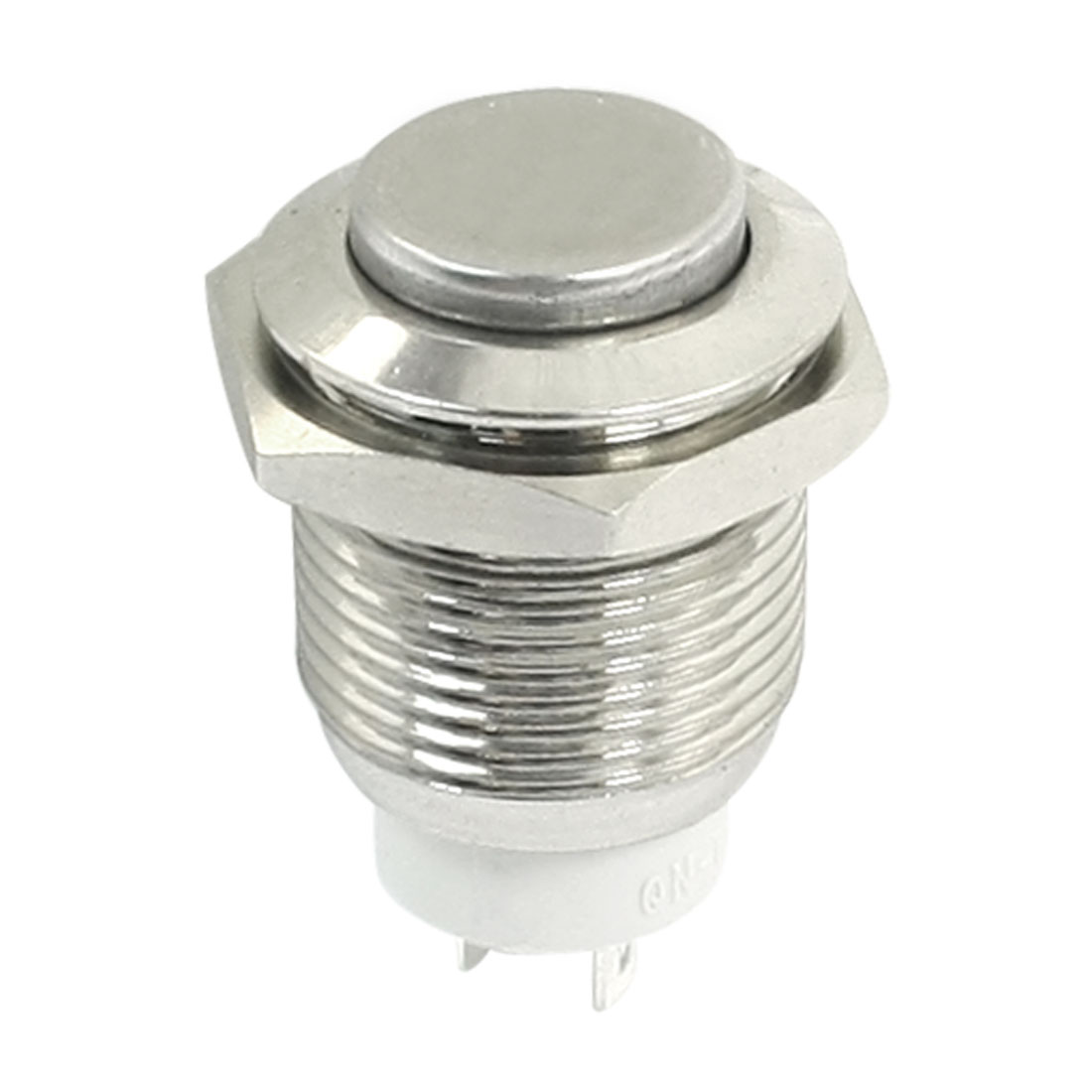 DC 3-250V SPST 2 Terminals High Flat Head 16mm Thread Panel Mount Locking Metal Push Button Switch