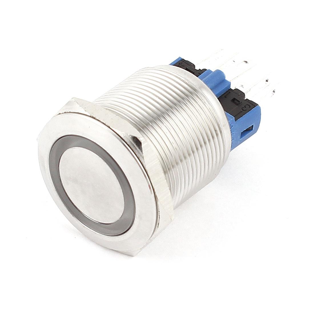 DC 12V Blue LED DPST 1NO 1NC 22mm Thread Self-Locking Push Button Switch