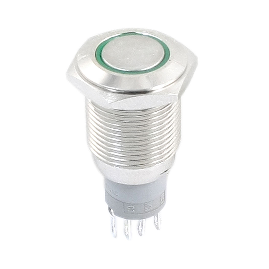 DC 12V Green Indicative LED Light Angel Eye SPDT 1NO 1NC 5 Pins Latching Metal Pushbutton Switch 16mm Thread