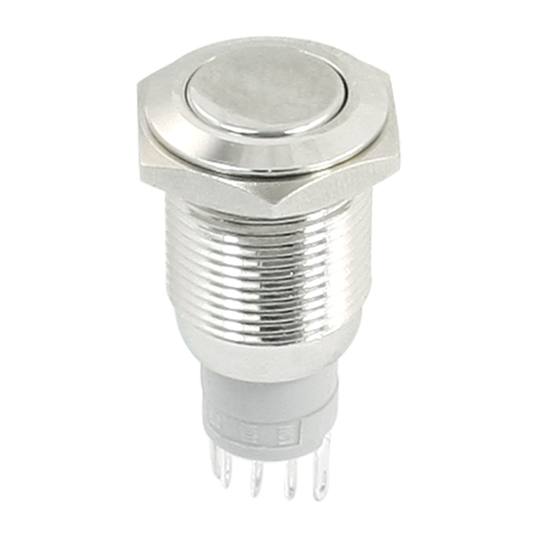 AC250 3A Flat Head 5 Pins SPDT 1NO 1NC 16mm Thread Panel Mount Momentary Metal Pushbutton Switch