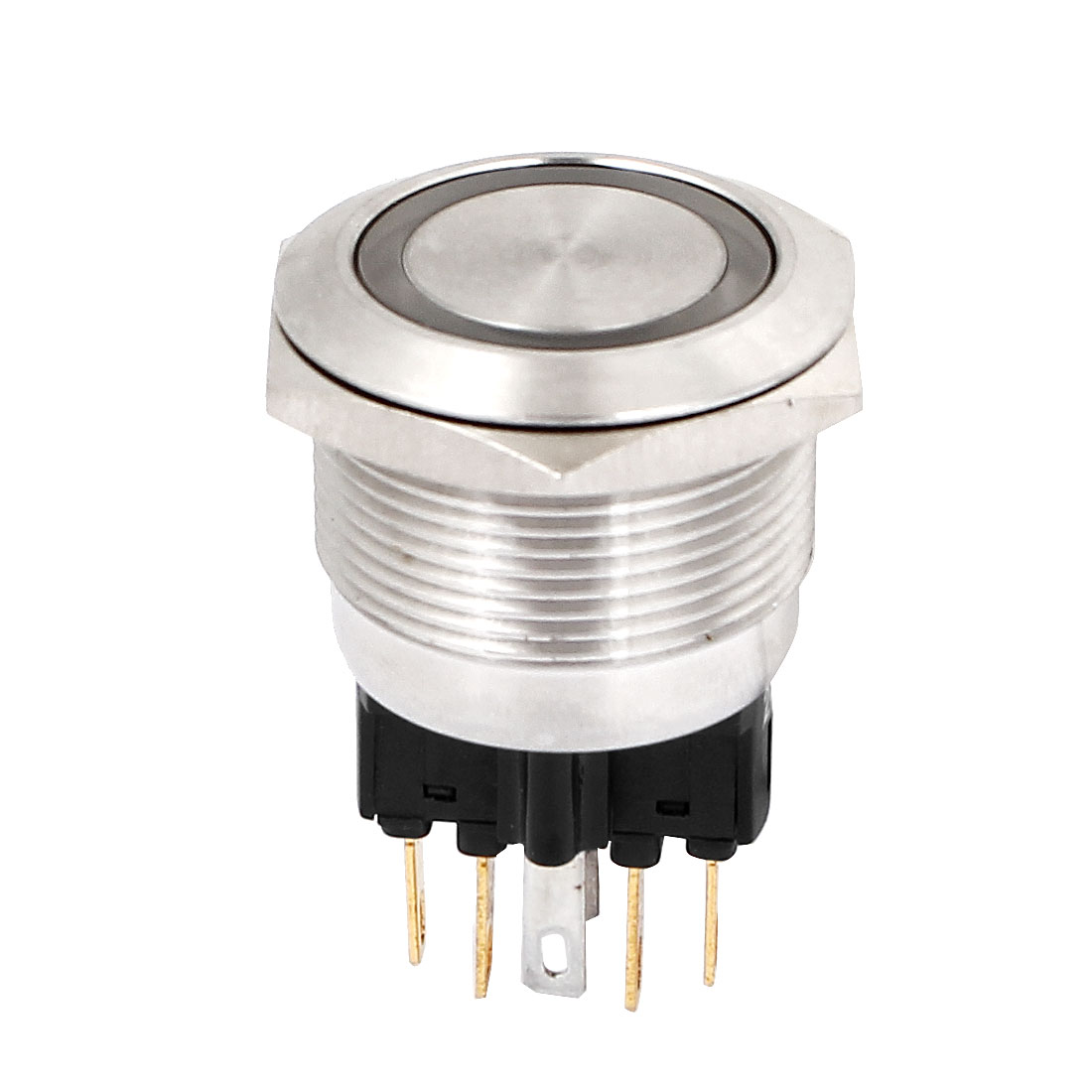 DC 24V Yellow LED Angel Eye Light DPST 1NO 1NC 6Pins 22mm Momentary Stainless Steel Push Button Switch