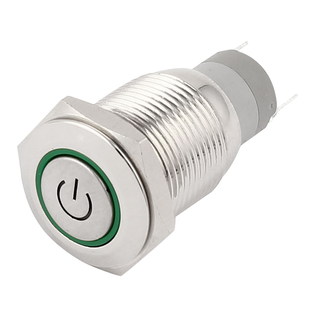 DC 12V Green Angel Eye Power Indicative LED Light SPDT 1NO 1NC 5 Pins 16mm Thread Momentary Action Metal Push Button Switch