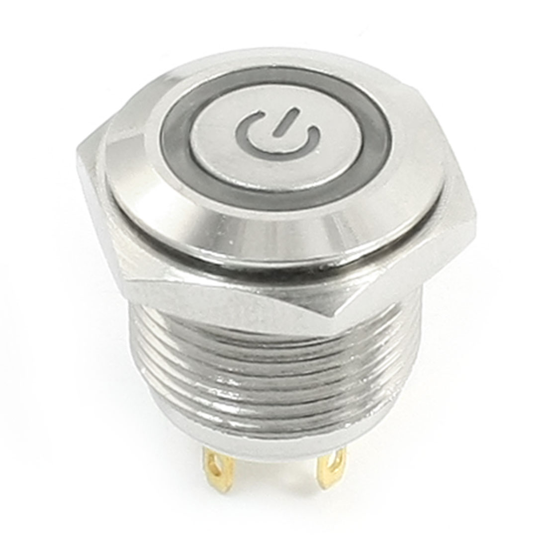 DC 12V Red Angel Eye Indicative LED SPST Flat Head Momentary Metal Power Push Button Switch 16mm Thread