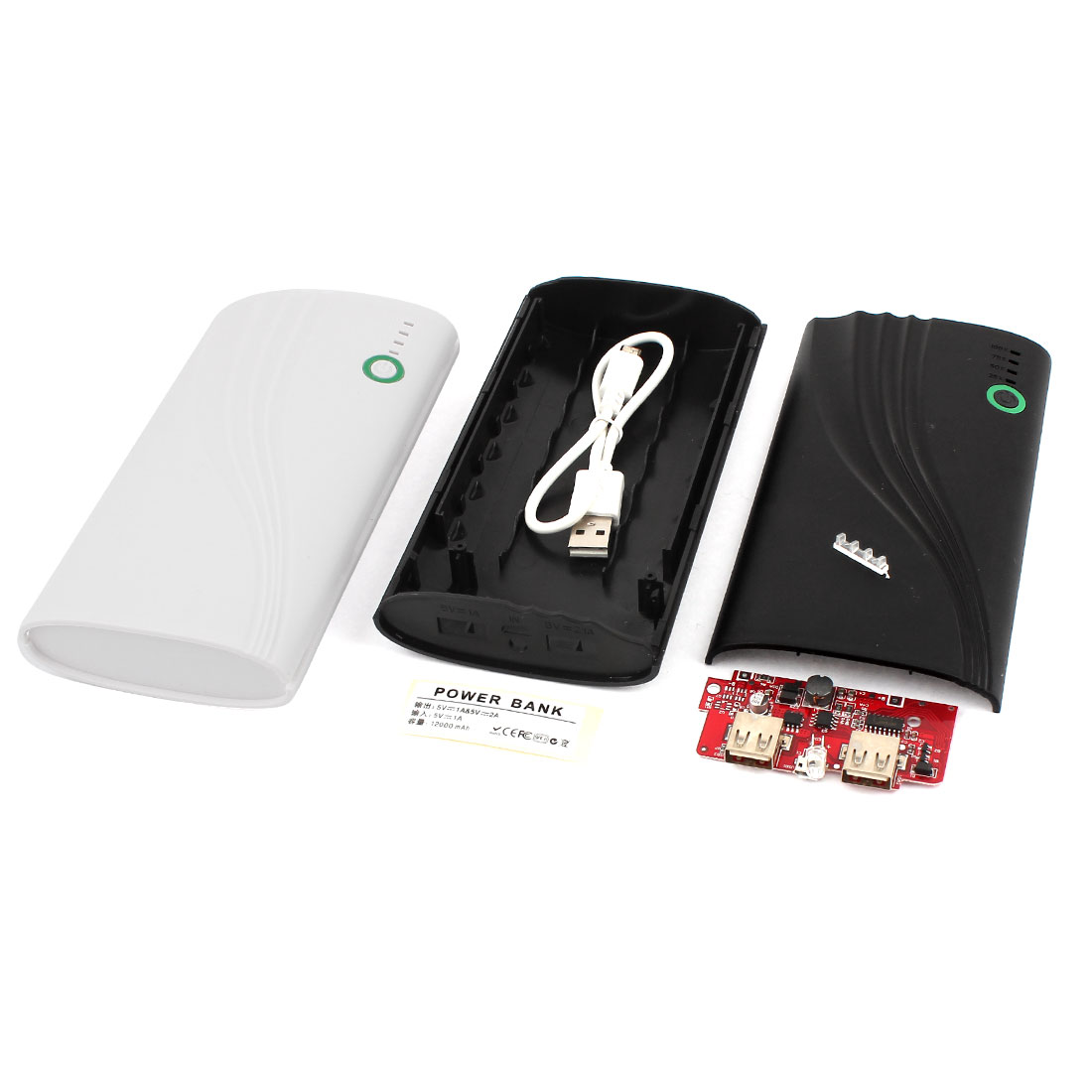 2 Pcs Black White Housing USB 5V 1A Power Bank 6x 18650 Battery Charger DIY Case