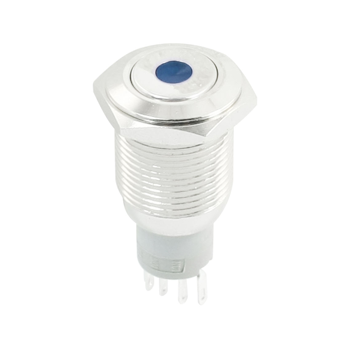 DC12V Blue Dot LED Indicator Flat Head SPDT 1NO 1NC 5Pins 16mm Thread Momentary Metal Push Button Switch