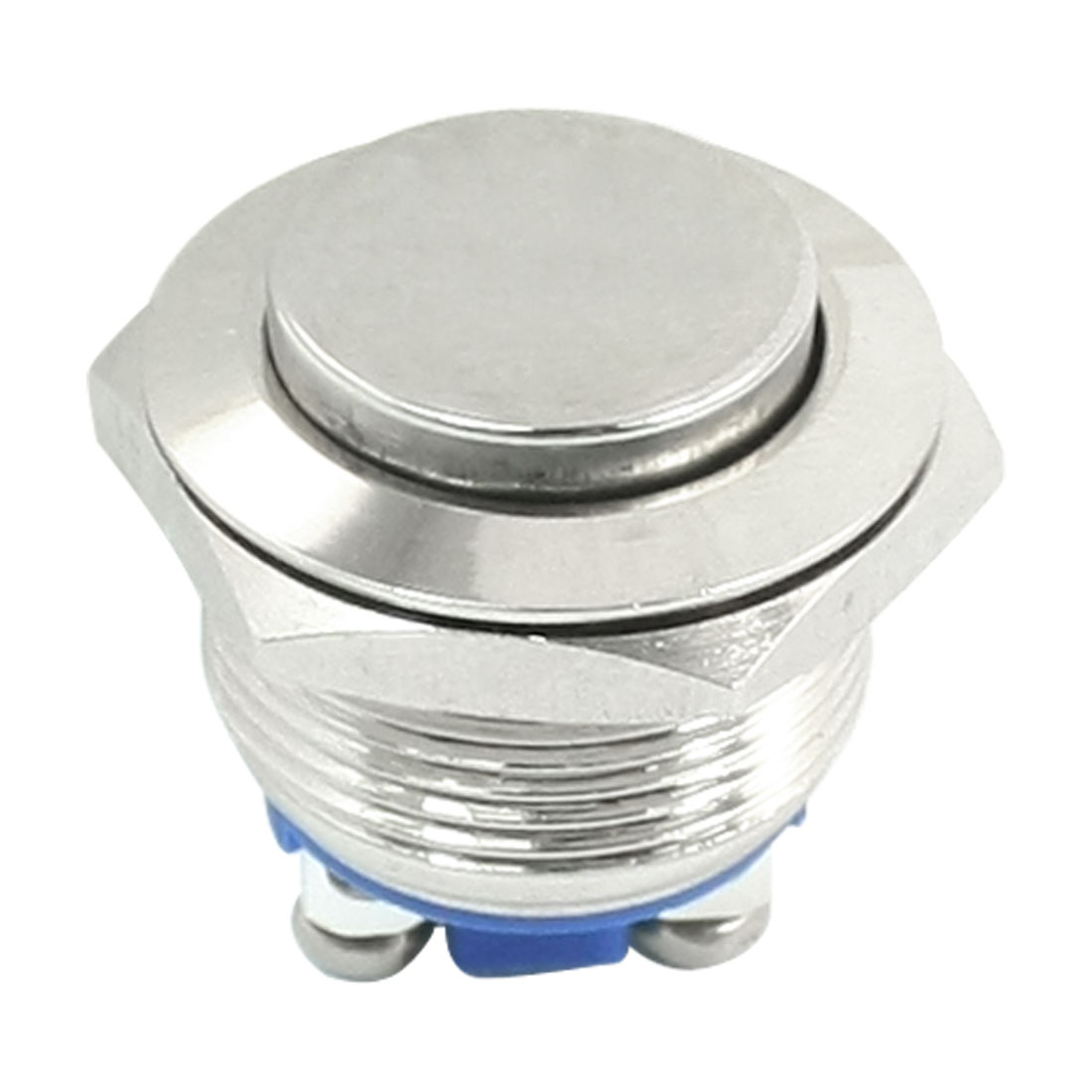AC 250V 3A 19mm Thread Flush Mounted SPST High Flat Head Momentary Metal Pushbutton Switch